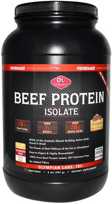 Olympian Labs Inc., Performance Sport Nutrition, Beef Protein Isolate, Chocolate, 2 lbs (907 g) ,والمكملات الغذائية، والبروتين