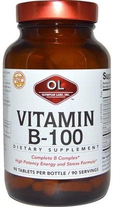 Olympian Labs Inc., Vitamin B-100, 90 Tablets ,الفيتامينات، فيتامين ب المعقدة 100