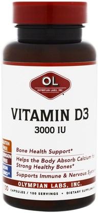 Olympian Labs Inc., Vitamin D3, 3000 IU, 100 Capsules ,الفيتامينات، فيتامين d3