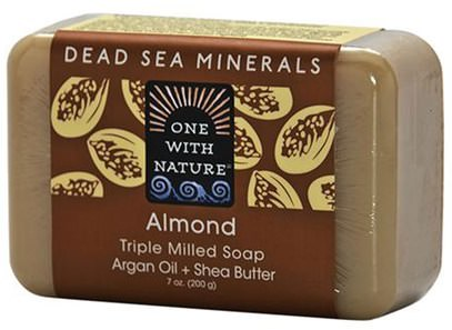One with Nature, Almond Soap Bar, 7 oz (200 g) ,حمام، الجمال، الصابون، أرجان