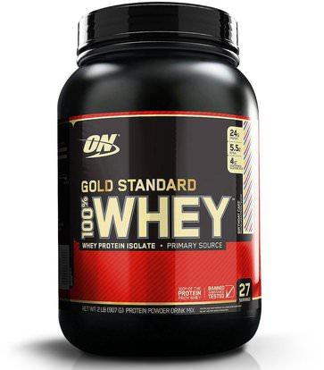 Optimum Nutrition, Gold Standard, 100% Whey, Birthday Cake, 2 lb (907 g) ,رياضات