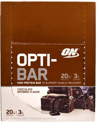 Optimum Nutrition, Opti-Bar High Protein Bar, Chocolate Brownie, 12 Bars, 2.1 oz (60 g) Each ,رياضات