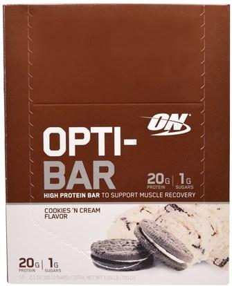Optimum Nutrition, Opti-Bar High Protein Bar, Cookies n Cream, 12 Bars - 2.1 oz (60 g) Each ,رياضات