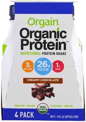 Orgain, Organic Protein Nutritional Protein Shake, Creamy Chocolate Flavor, 4 Pack, 14 fl oz (414 ml) Each ,المكملات الغذائية، مشروبات البروتين