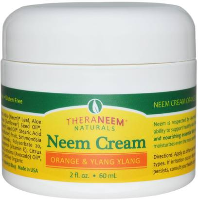 Organix South, TheraNeem Naturals, Neem Cream, Orange & Ylang Ylang, 2 fl oz (60 ml) ,حمام، الجمال، يهتم الجسم، غسول الجسم