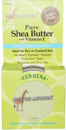 Out of Africa, Pure Shea Butter, with Vitamin E, Verbena, 5 oz (142 g) ,حمام، الجمال، زبدة الشيا