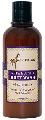 Out of Africa, Shea Butter Body Wash, Lavender, 9 fl oz (270 ml) ,حمام، الجمال، هلام الاستحمام