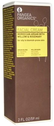 Pangea Organics, Facial Cream, Moroccan Argan with Willow & Rosemary, 2 fl oz (59 ml) ,الجمال، العناية بالوجه، نوع الجلد التحرير والسرد للبشرة الدهنية، الكريمات المستحضرات، الأمصال