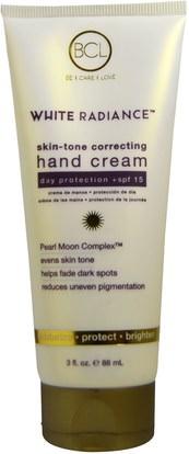 Petal Fresh, BCL, White Radiance, Skin-Tone Correcting Hand Cream, SPF 15, 3 fl oz (88 ml) ,حمام، الجمال، كريمات اليد، واقية من الشمس، سف 05-25