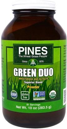 Pines International, Green Duo Powder, 10 oz (283.5 g) ,الأعشاب، البرسيم، سوبرفوودس، عشب القمح