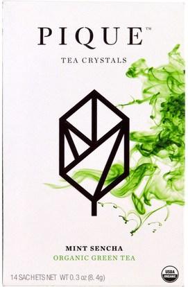 Pique Tea, Mint Sencha, Organic Green Tea, 14 Sachets, 0.3 oz (8.4 g) ,المكملات الغذائية، مضادات الأكسدة، الشاي الأخضر، الغذاء، الشاي العشبية