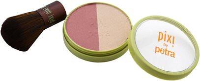 Pixi Beauty, Beauty Blush Duo + Kabuki, Rose Gold, 0.36 oz (10.21 g) ,حمام، الجمال، ماكياج
