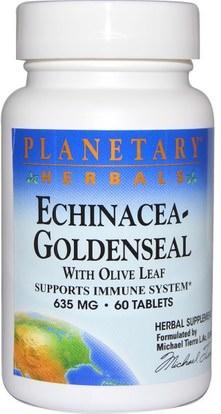 Planetary Herbals, Echinacea-Goldenseal with Olive Leaf, 635 mg, 60 Tablets ,المكملات الغذائية، المضادات الحيوية، إشنسا و غولدنزيل، الصحة، ورقة الزيتون