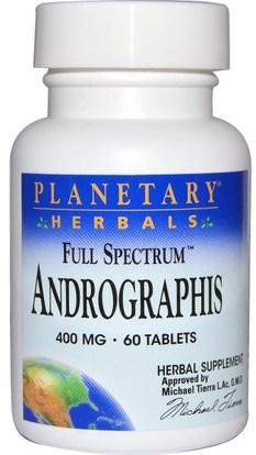 Planetary Herbals, Full Spectrum Andrographis, 400 mg, 60 Tablets ,المكملات الغذائية، المضادات الحيوية، أندروغرافيس