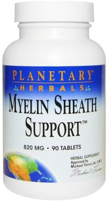 Planetary Herbals, Myelin Sheath Support, 820 mg, 90 Tablets ,الأعشاب، أشواغاندا، ويثانيا، سومنيفيرا، أشواغاندا