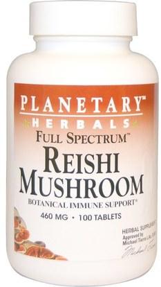 Planetary Herbals, Reishi Mushroom, Full Spectrum, 460 mg, 100 Tablets ,المكملات الغذائية، الفطر الطبية، الفطر ريشي، أدابتوغين