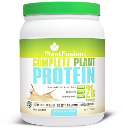 PlantFusion, Complete Plant Protein, Cookies N Creme, 1 lb (454 g) ,والرياضة، والعضلات
