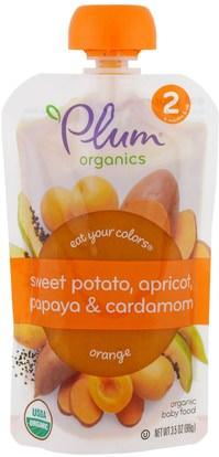 Plum Organics, Stage 2, Eat Your Colors, Orange, Sweet Potato, Apricot, Papaya & Cardamon, 3.5 oz (99 g) ,صحة الطفل، تغذية الطفل، الغذاء
