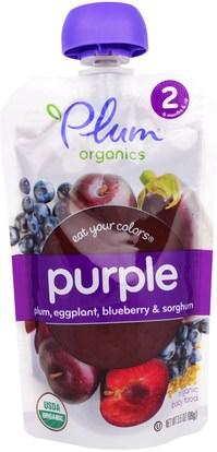 Plum Organics, Stage 2, Eat Your Colors, Purple, Plum, Eggplant, Blueberry & Sorghum, 3.5 oz (99 g) ,صحة الطفل، تغذية الطفل، أطفال الأطعمة
