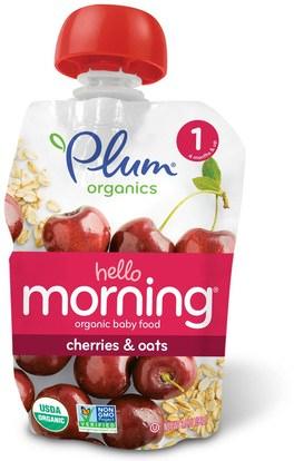 Plum Organics, Organic Baby Food, Stage 1, Hello Morning, Cherries & Oats, 3.5 oz (99 g) ,صحة الطفل، تغذية الطفل، الغذاء، أطفال الأطعمة