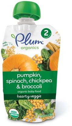 Plum Organics, Organic Baby Food, Stage 2, Hearty Veggie, Pumpkin, Spinach, Chickpea & Broccoli, 3.5 oz (99 g) ,صحة الطفل، تغذية الطفل، الغذاء، أطفال الأطعمة
