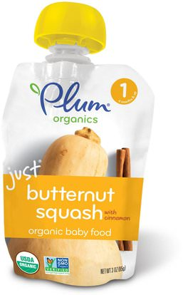 Plum Organics, Organic Baby Food, Stage 1, Just Butternut Squash with Cinnamon, 3 oz (85 g) ,صحة الطفل، تغذية الطفل، الغذاء، أطفال الأطعمة