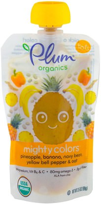 Plum Organics, Tots, Mighty Colors, Yellow, Pineapple, Banana, Navy Bean, Yellow Bell Pepper & Oat, 3.5 oz (99 g) ,صحة الطفل، تغذية الطفل، الغذاء