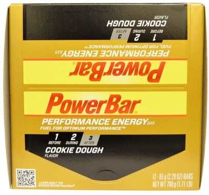 PowerBar, Performance Energy Bar, Cookie Dough, 12 Bars, 2.29 oz (65 g) Each ,والرياضة، والبروتين أشرطة