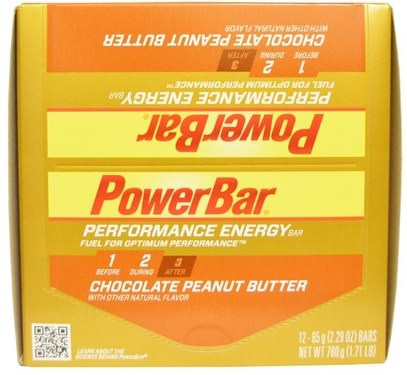 PowerBar, Performance Energy, Chocolate Peanut Butter, 12 Bars, 2.29 oz (65 g) Each ,والرياضة، والبروتين أشرطة