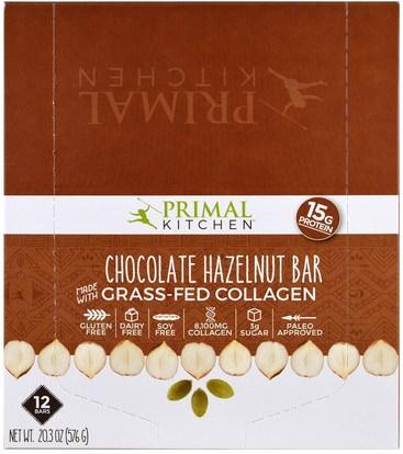 Primal Kitchen, Chocolate Hazelnut, Grass-Fed Collagen, 12 Bars, 1.7 oz (48 g) Each ,الصحة، العظام، هشاشة العظام، الكولاجين