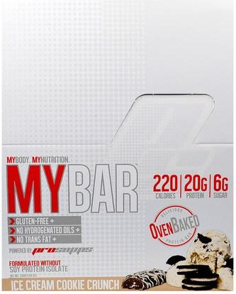 ProSupps, My Bar, Ice Cream Cookie Crunch, 12 Bars, 11.64 oz (330 g) ,والرياضة، والحانات البروتين، والوجبات الخفيفة، والوجبات الخفيفة الصحية
