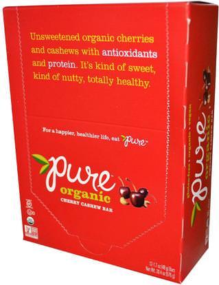 Pure Bar, Organic, Cherry Cashew, 12 Bars, 1.7 oz (48 g) Each ,الطعام، الوجبات الخفيفة، الوجبات الصحية الصحية، المكملات الغذائية، الحانات الغذائية