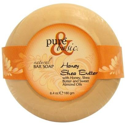 Pure & Basic, Natural Bar Soap, Honey Shea Butter, 6.4 oz (180 g) ,حمام، الجمال، الصابون، زبدة الشيا