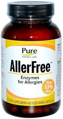 Pure Essence, AllerFree, Enzymes for Allergies, 60 Veggie Caps ,المكملات الغذائية، الإنزيمات، الحساسية، الحساسية