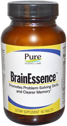 Pure Essence, BrainEssence, 60 Tablets ,الصحة، اضطراب نقص الانتباه، إضافة، أدهد، الدماغ، فينبوسيتين، الذاكرة