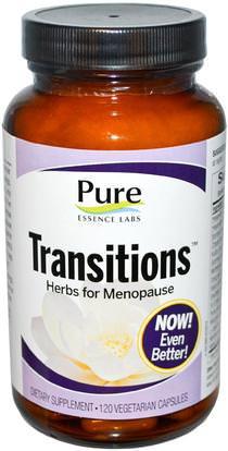Pure Essence, Transitions, Herbs for Menopause, 120 Veggie Caps ,والصحة، والنساء، وانقطاع الطمث