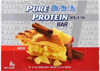 Pure Protein, Plus Bar, Apple Pie, 6 Bars, 2.11 oz (60 g) Each ,والرياضة، والبروتين أشرطة