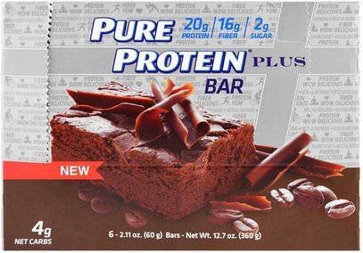 Pure Protein, Plus Bar, Mocha Brownie, 6 Bars, 2.11 oz (60 g) ,والرياضة، والبروتين أشرطة