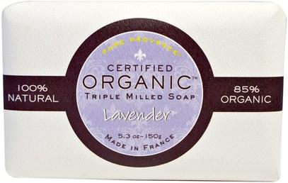 Pure Provence Organic, Certified Organic Triple Milled Soap, Lavender, 5.3 oz (150 g) ,حمام، الجمال، الصابون