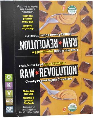 Raw Revolution, Super Food Bar, Chunky Peanut Butter Chocolate, 12 Bars, 1.6 oz (46 g) Each ,المكملات الغذائية، الحانات الغذائية