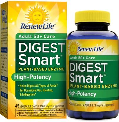 Renew Life, Adult 50+ Care Digest Smart, 45 Vegetable Capsules ,والمكملات الغذائية، والإنزيمات الهاضمة