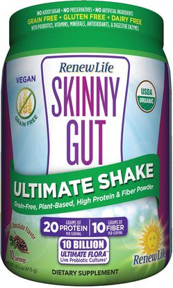 Renew Life, Skinny Gut, Ultimate Shake, Natural Chocolate Flavor, 14.5 oz (410 g) ,والمكملات الغذائية، والبروتين، وفقدان الوزن، والنظام الغذائي