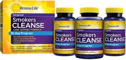Renew Life, Targeted, Smokers Cleanse, Lung Support Formula, 30 Day Program, 3-Part Program ,المكملات الغذائية، 5-هتب، الكافا الكافا