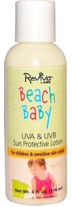 Reviva Labs, Beach Baby, UVA & UVB Sun Protective Lotion, 4 fl oz (118 ml) ,حمام، الجمال، واقية من الشمس، سف 05-25، والأطفال والطفل واقية من الشمس