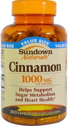 Sundown Naturals, Cinnamon, 1000 mg, 200 Capsules ,الأعشاب، القرفة استخراج