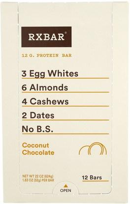 RXBAR, Protein Bars, Coconut Chocolate, 12 Bars, 1.83 oz (52 g) Each ,والمكملات الغذائية، والحانات الغذائية، والوجبات الخفيفة