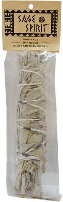 Sage Spirit, Native American Incense, White Sage, Large, 6-7 Inches ,الأعشاب، حكيم، الزيوت العطرية الزيوت، البخور