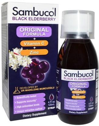 Sambucol, Black Elderberry, Original Formula, Vitamin C Plus Zinc, Syrup, 4 fl oz (120 ml) ,الصحة، الإنفلونزا الباردة والفيروسية، إلديربيري (سامبوكوس)