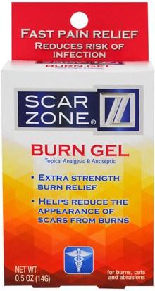 Scar Zone, Burn Gel, Topical Analgesic & Antiseptic, 0.5 oz (14 g) ,والصحة، والجلد، وتمتد علامات ندبات، ومكافحة الألم