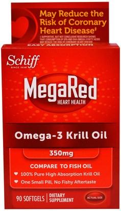 Schiff, MegaRed, Omega-3 Krill Oil, 350 mg, 90 Softgels ,المكملات الغذائية، إيفا أوميجا 3 6 9 (إيبا دا)، زيت الكريل